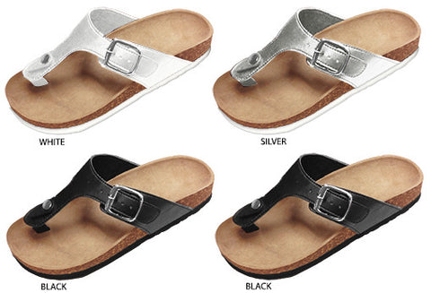 Ladies Thing Footbed Sandals with Slide Buckle Case Pack 24 - Harvey & Haley