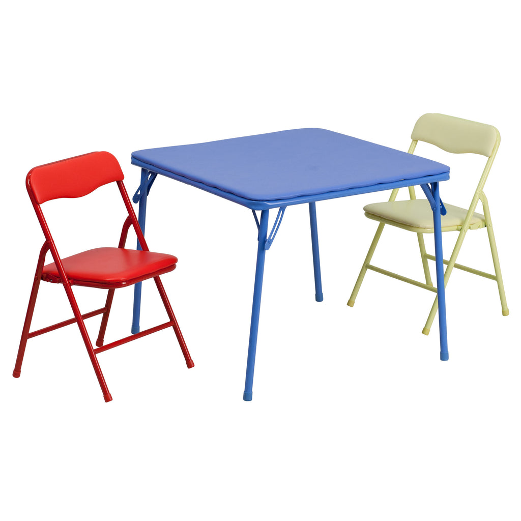 Kids Colorful 3 Piece Folding Table and Chair Set JB-10-CARD-GG - Harvey & Haley