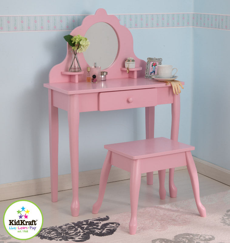 Kidkraft Medium Diva Table And Stool - Pink - Harvey & Haley