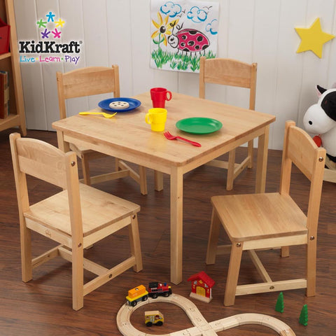 Kidkraft Natural Farmhouse Table And Four Chairs - Harvey & Haley