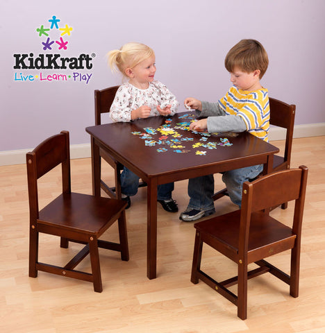 Kidkraft Pecan Farmhouse Table And Four Chairs - Harvey & Haley
