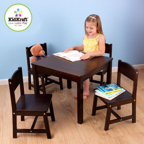 Kidkraft Espresso Farmhouse Table And Four Chairs - Harvey & Haley