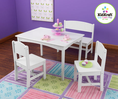 Kidkraft Nantucket Table With Bench And Two Chairs - Harvey & Haley