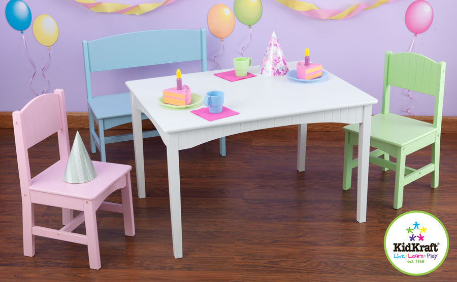 Kidkraft Nantucket Pastel Table With Bench And Two Chairs - Harvey & Haley