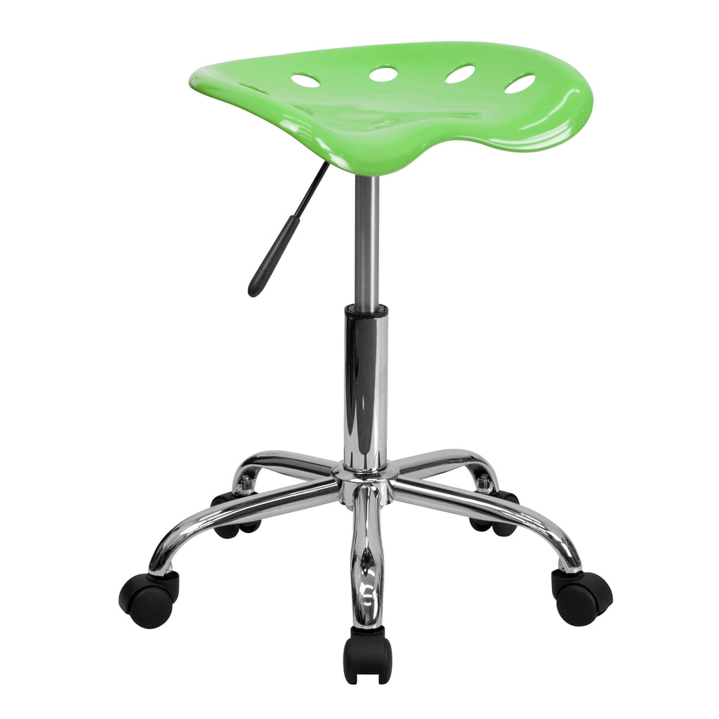 Vibrant Apple Green Tractor Seat and Chrome Stool - Harvey & Haley