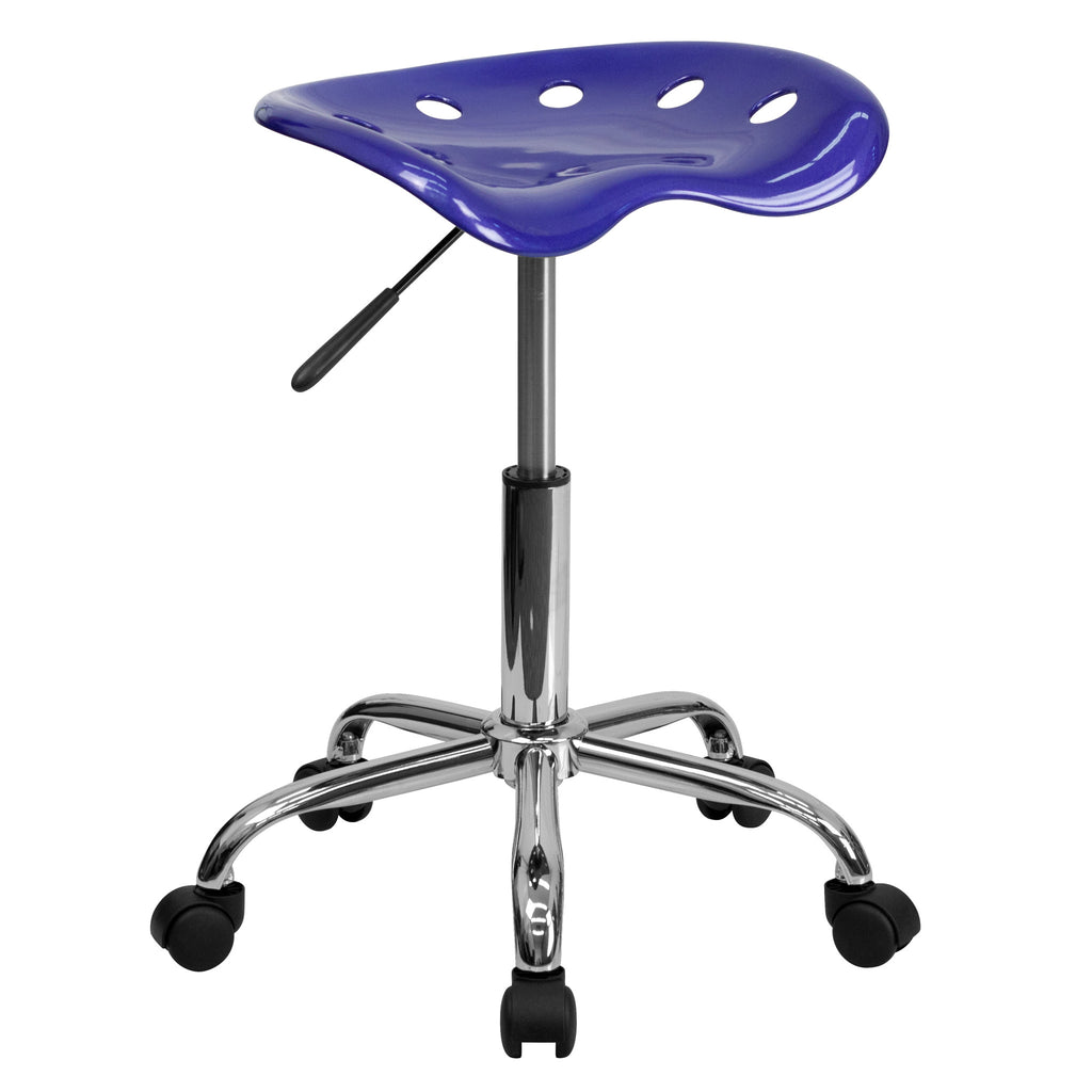 Vibrant Deep Blue Tractor Seat and Chrome Stool - Harvey & Haley