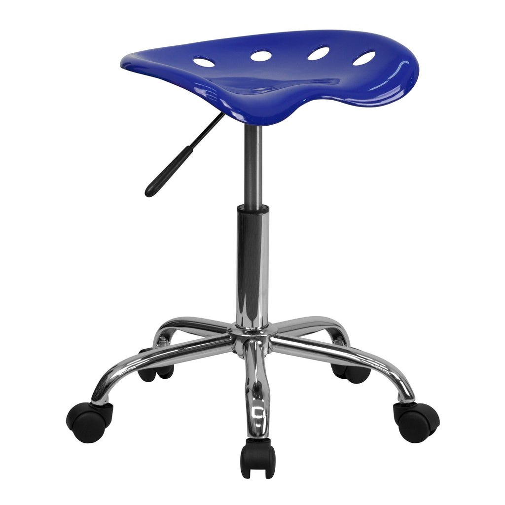Vibrant Nautical Blue Tractor Seat & Chrome Stool - Harvey & Haley