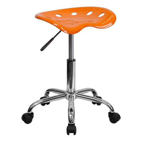 Vibrant Orange Tractor Seat and Chrome Stool - Harvey & Haley