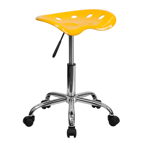 Vibrant Orange-Yellow Tractor Seat and Chrome Stool - Harvey & Haley