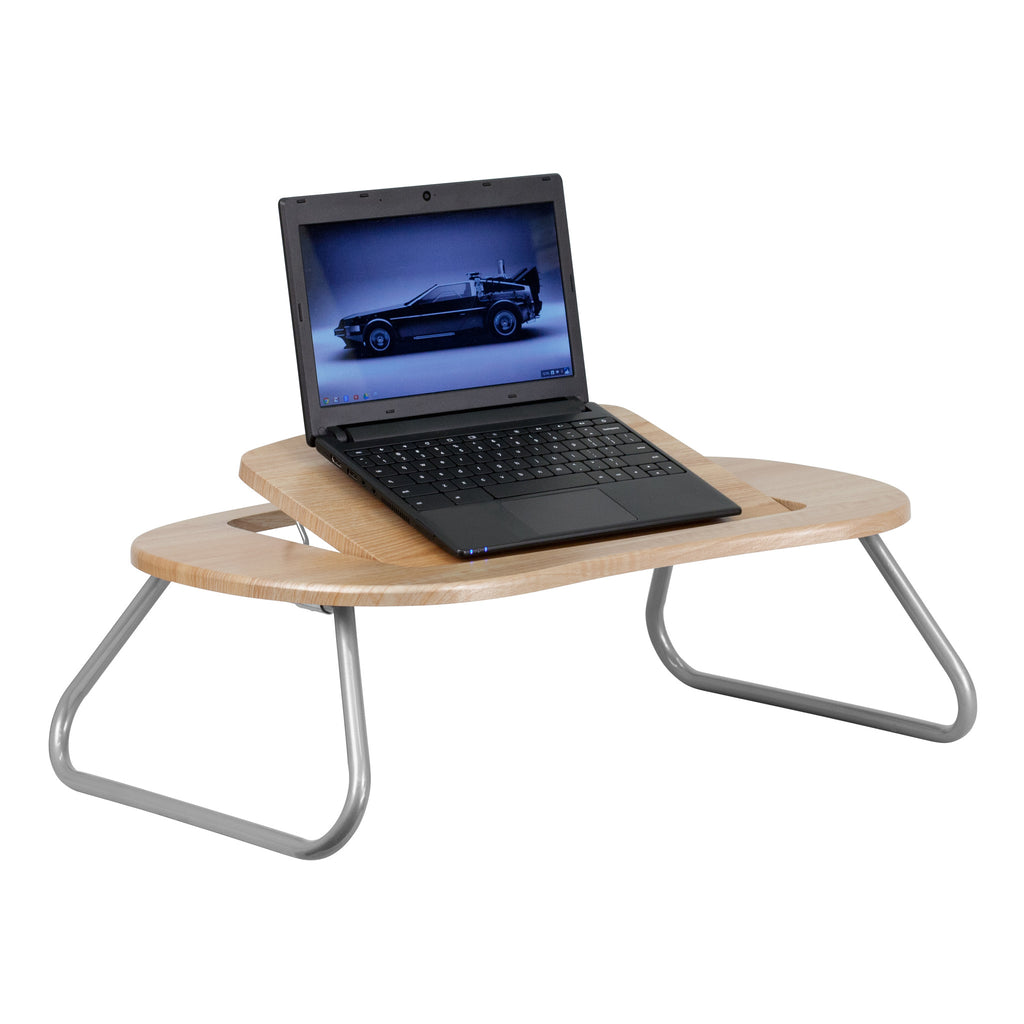 Angle Adjustable Laptop Computer Table with Dark Natural Top - Harvey & Haley