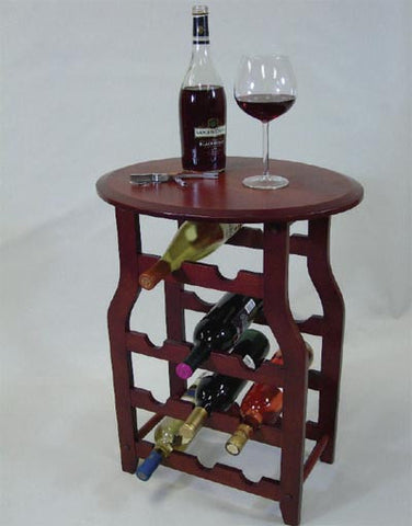 11 Bottle Mahogany Wine Rack with Table Platform - Apachi - Harvey & Haley