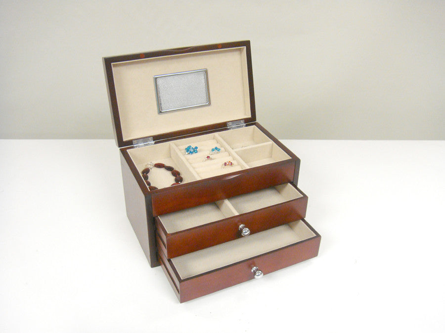 Proman Bellissimo Genoa Jewelry Box, Top Tray with 2 Drawers, Dark Cherry - Harvey & Haley