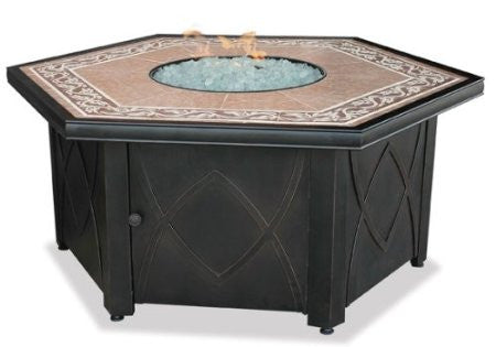 Lp Gas Outdoor Firebowl With Decorative Tile Mantel - Harvey & Haley