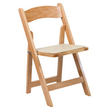 HERCULES Natural Wood Folding Chair - Padded Vinyl Seat - Harvey & Haley