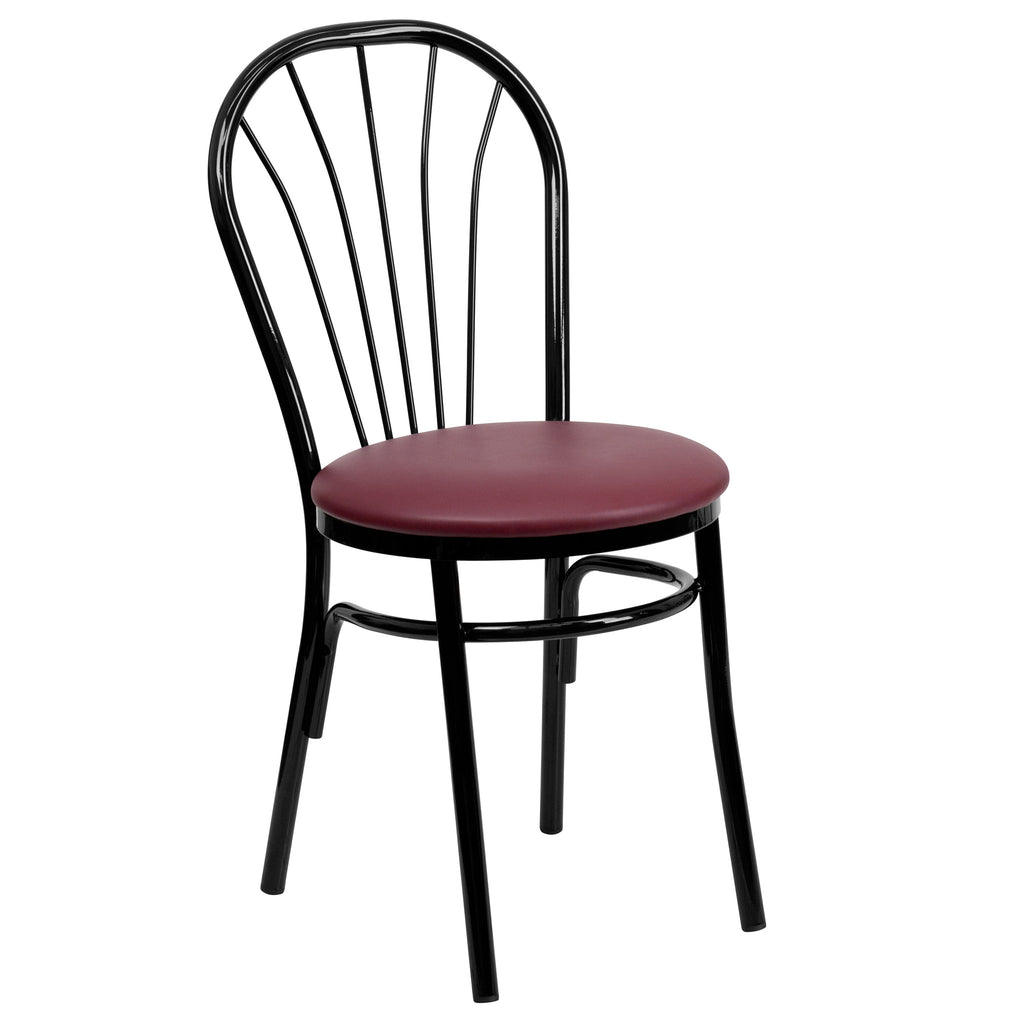HERCULES Series Fan Back Metal Chair - Burgundy Vinyl Seat - Harvey & Haley