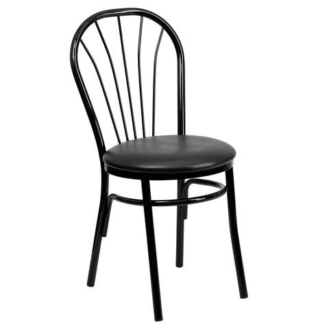HERCULES Series Fan Back Metal Chair - Black Vinyl Seat - Harvey & Haley