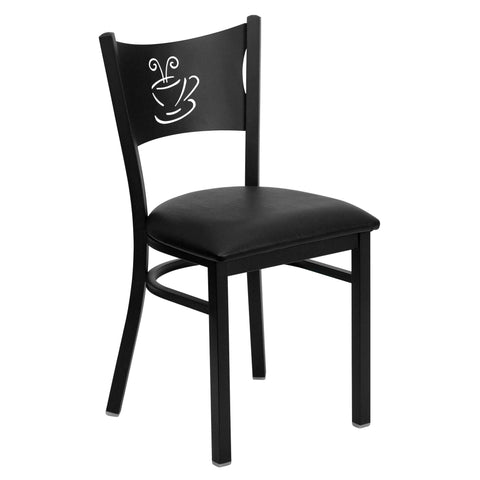 HERCULES Black Coffee Back Metal Restaurant Chair - Black Vinyl Seat - Harvey & Haley