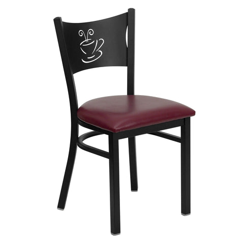 HERCULES Black Coffee Back Metal Restaurant Chair - Burgundy Vinyl Seat - Harvey & Haley