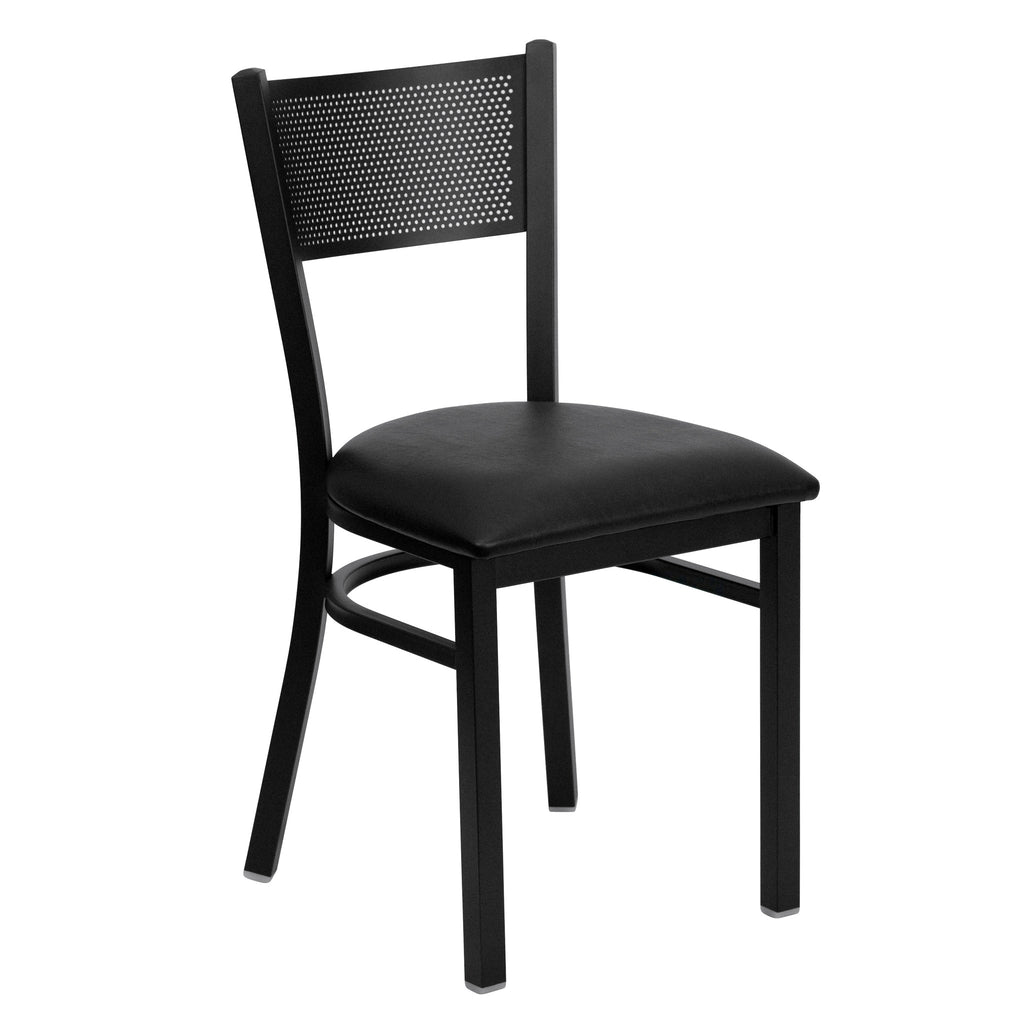 HERCULES Black Grid Back Metal Restaurant Chair - Black Vinyl Seat - Harvey & Haley