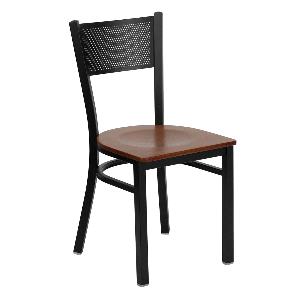 HERCULES Black Grid Back Metal Restaurant Chair - Cherry Wood Seat - Harvey & Haley