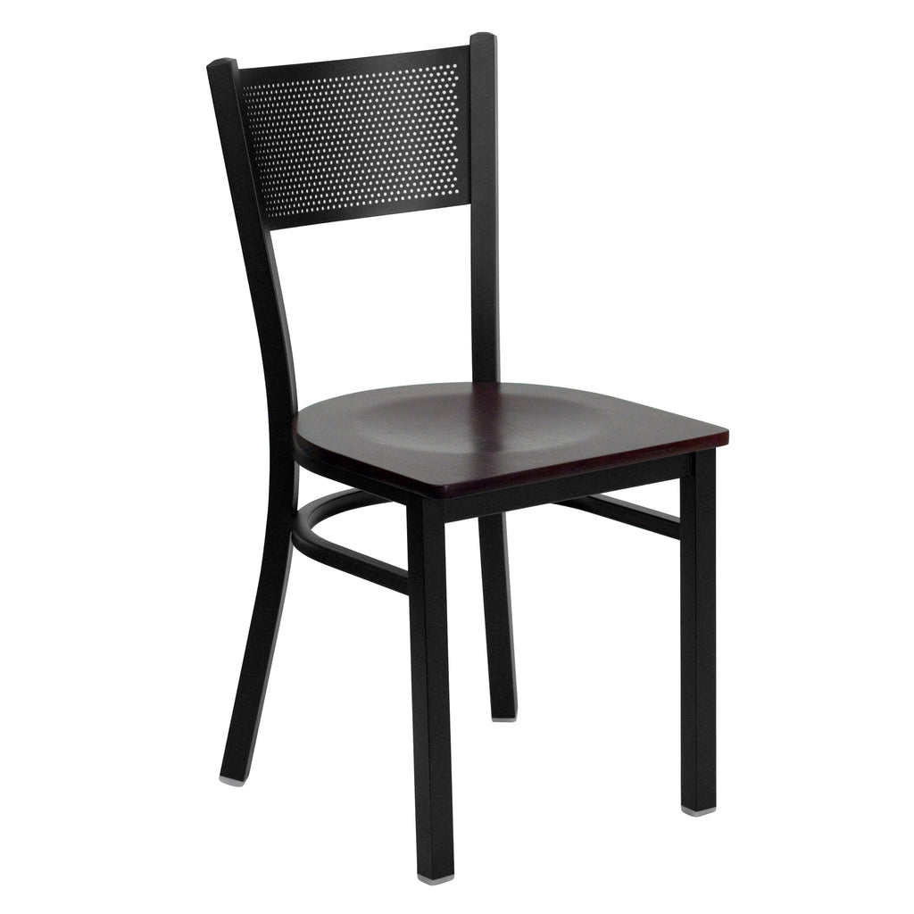 HERCULES Black Grid Back Metal Restaurant Chair - Mahogany Wood Seat - Harvey & Haley