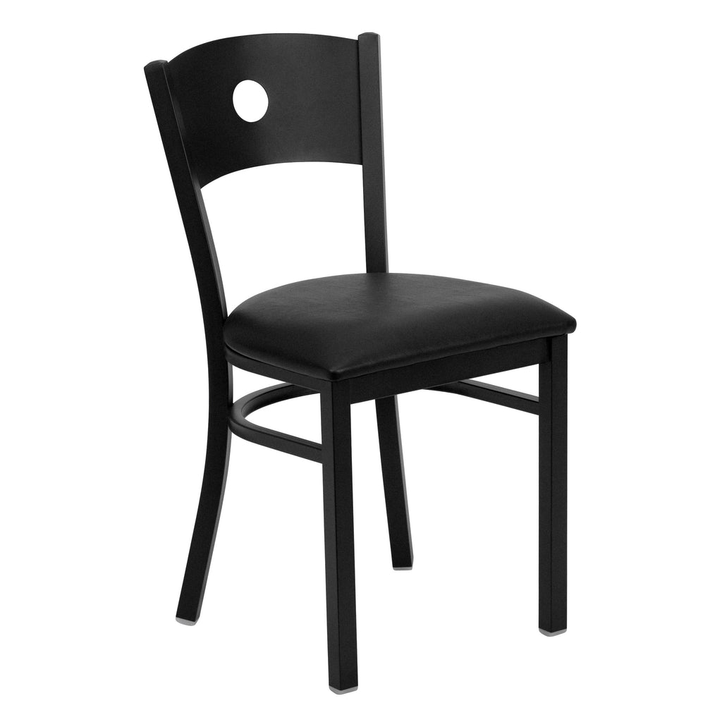 HERCULES Black Circle Back Metal Restaurant Chair - Black Vinyl Seat - Harvey & Haley