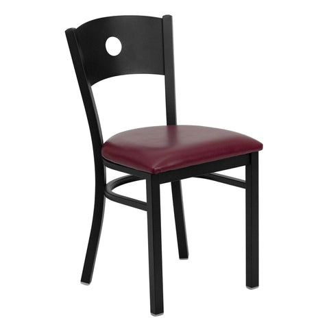 HERCULES Black Circle Back Metal Restaurant Chair - Burgundy Vinyl Seat - Harvey & Haley