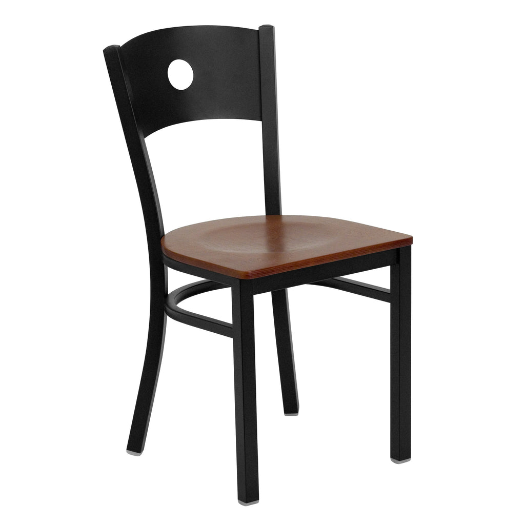 HERCULES Black Circle Back Metal Restaurant Chair - Cherry Wood Seat - Harvey & Haley