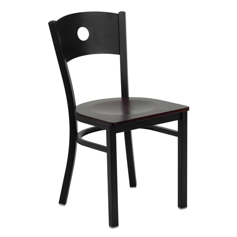 HERCULES Black Circle Back Metal Restaurant Chair - Mahogany Wood Seat - Harvey & Haley