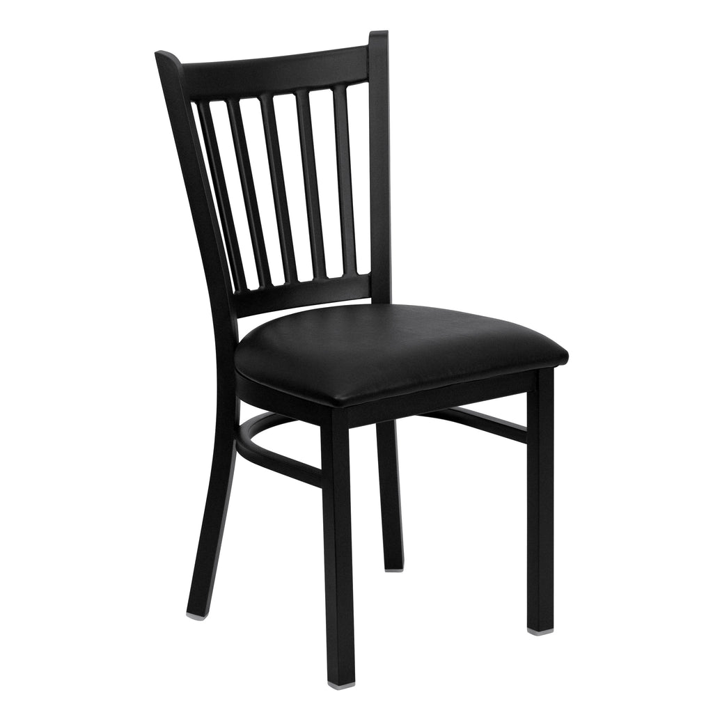 HERCULES Black Vertical Back Metal Restaurant Chair - Black Vinyl Seat - Harvey & Haley