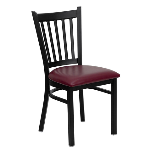 HERCULES Black Vertical Back Metal Restaurant Chair - Burgundy Vinyl Seat - Harvey & Haley