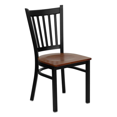 HERCULES Black Vertical Back Metal Restaurant Chair - Cherry Wood Seat - Harvey & Haley