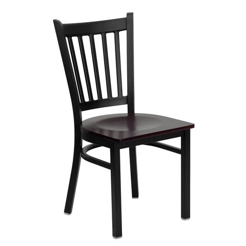 HERCULES Black Vertical Back Metal Restaurant Chair - Mahogany Wood Seat - Harvey & Haley