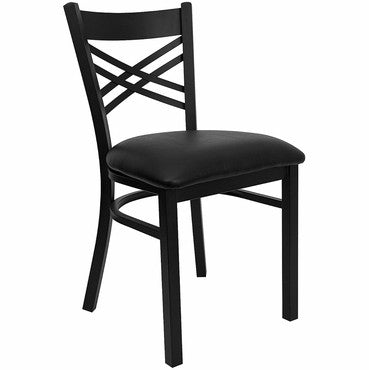 HERCULES Black X Back Metal Restaurant Chair - Black Vinyl Seat - Harvey & Haley