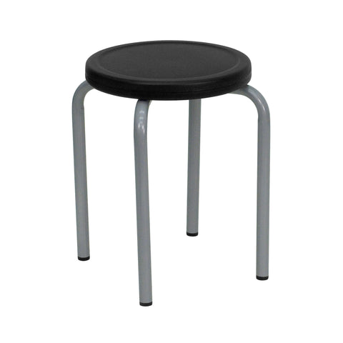 Stool with Black Seat and Silver Powder Coated Frame - Harvey & Haley