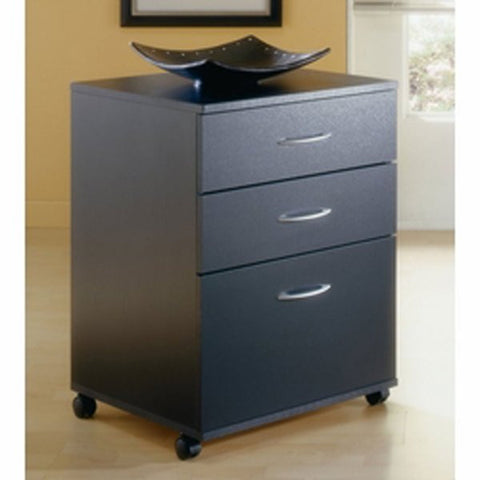 "Three-drawer Mobile Filing Cabinet - Filing where you need it (Black) (26.625""H x 18.625""W x 17.625""D) - Harvey & Haley"