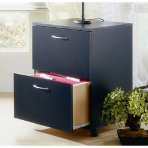 "Two-drawer Mobile Filing Cabinet - Filing where you need it (Black) (26.625""H x 18.625""W x 17.625""D) - Harvey & Haley"