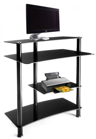 "Black Glass and Aluminum Computer Desk (Black) (36""H x 32""W x 24""D) - Harvey & Haley"