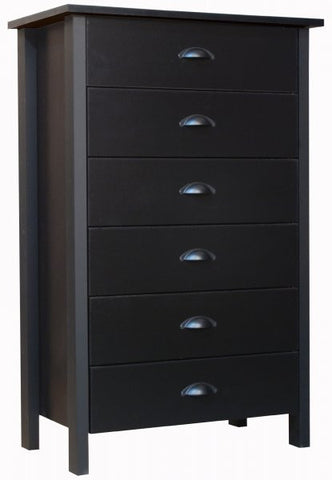 "Chest of Drawers - 6 Drawer (Black) (44.5""H x 28.5""W x 16""D) - Harvey & Haley"