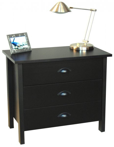 "Chest of Drawers - 3 Drawer (Black) (24.75""H x 28.5""W x 16""D) - Harvey & Haley"