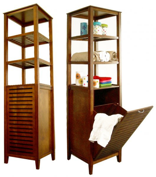 Spa Bath Tower With Tilting Hamper (Light Walnut) (66.25