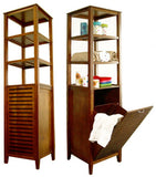 "Spa Bath Tower with Tilting Hamper (Light Walnut) (66.25""H x 17""W x 14.5""D) - Harvey & Haley"
