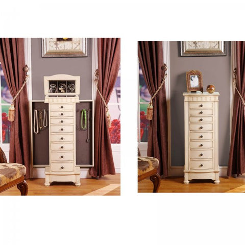 "Muscat 8 Drawer Jewelry Armoire (Antique Beige) (40.25""H x 16""W x 10.5""D) - Harvey & Haley"
