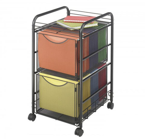 "Onyx Mesh File Cart with Two File Drawers (Black) (27""H x 15.75""W x 17""D) - Harvey & Haley"