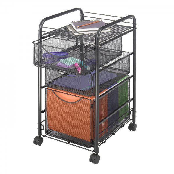"Onyx Mesh File Cart with a File Drawer and Two Small Drawers (Black) (27""H x 15.75""W x 17""D) - Harvey & Haley"
