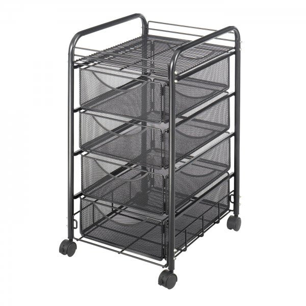 "Onyx Mesh File Cart with Four Drawers (Black) (27""H x 15.75""W x 17""D) - Harvey & Haley"