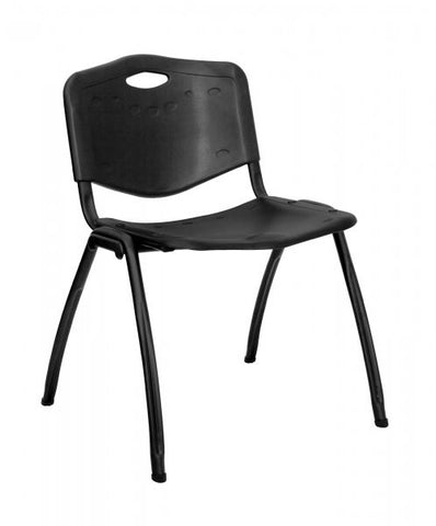 "HERCULES Series 880 lb Capacity Black Polypropylene Stack Chair (Black) (29.75""H x 18""W x 16""D) - Harvey & Haley"