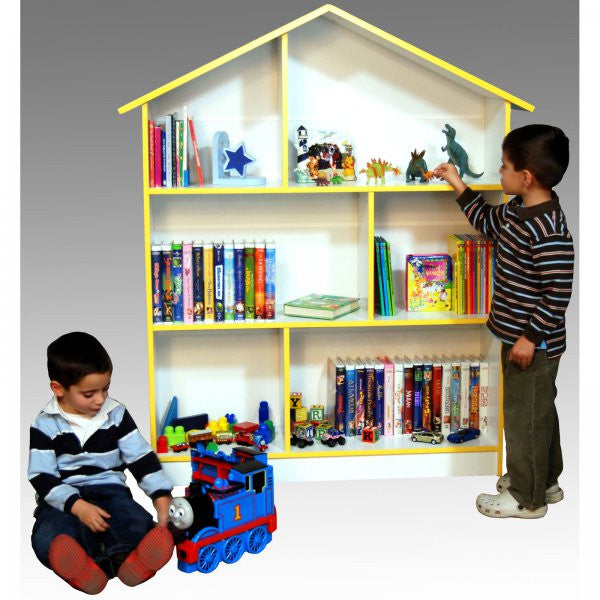 "Kids' Bookcase and Dollhouse (White) (55""h x 45""w x 12""d) - Harvey & Haley"