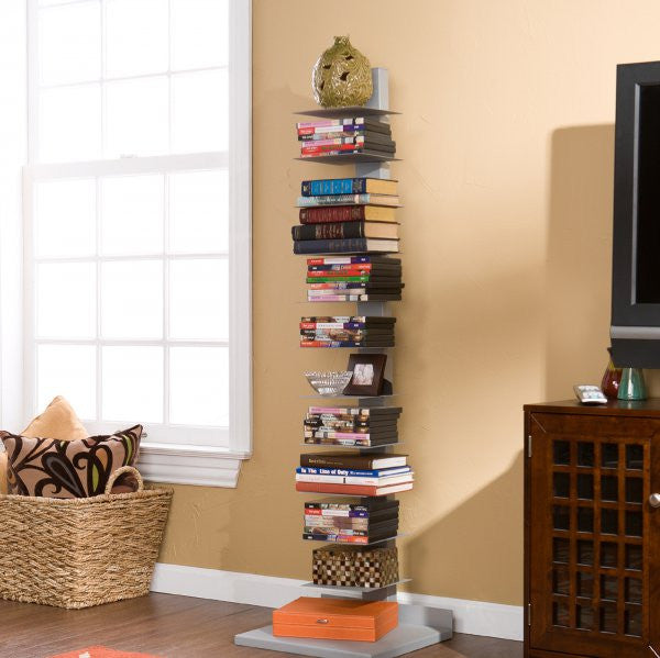"Spine Book Tower (Silver) (55.25""H x 16""W x 14""D) - Harvey & Haley"