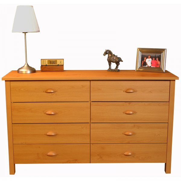 "Nouvelle 8-Drawer Lowboy Chest (Oak) (31""H x 52.5""W x 16""D) - Harvey & Haley"